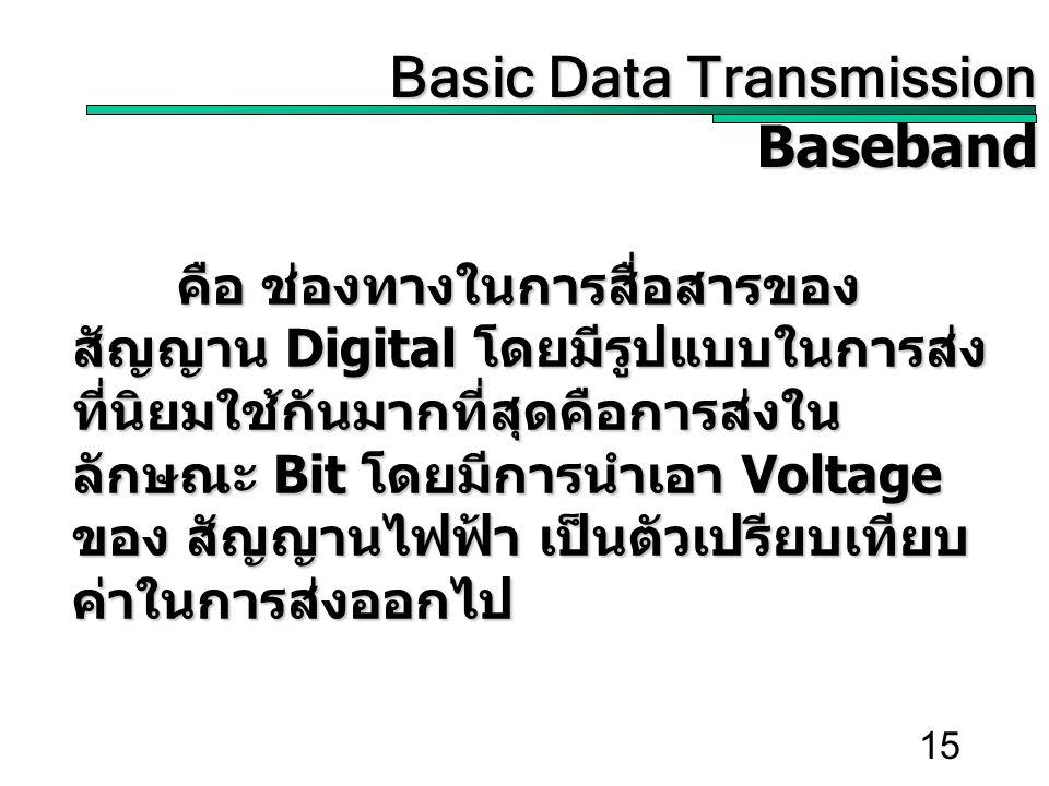 15 คือ ช่องทางในการสื่อสารของ สัญญาน Digital โดยมีรูปแบบในการส่ง ที่นิยมใช้กันมากที่สุดคือการส่งใน ลักษณะ Bit โดยมีการนำเอา Voltage ของ สัญญานไฟฟ้า เป็นตัวเปรียบเทียบ ค่าในการส่งออกไป Basic Data Transmission Basic Data TransmissionBaseband