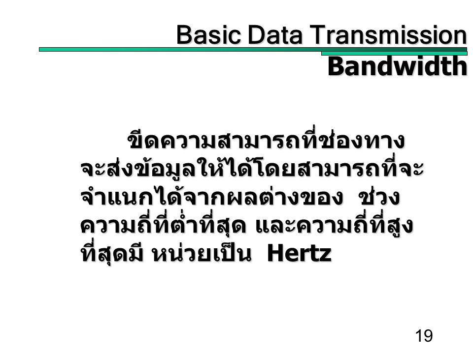 19 Basic Data Transmission Basic Data TransmissionBandwidth ขีดความสามารถที่ช่องทาง จะส่งข้อมูลให้ได้โดยสามารถที่จะ จำแนกได้จากผลต่างของ ช่วง ความถี่ที่ต่ำที่สุด และความถี่ที่สูง ที่สุดมี หน่วยเป็น Hertz