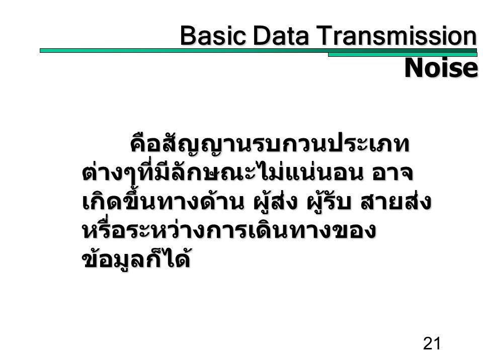 21 Basic Data Transmission Basic Data TransmissionNoise คือสัญญานรบกวนประเภท ต่างๆที่มีลักษณะไม่แน่นอน อาจ เกิดขึ้นทางด้าน ผู้ส่ง ผู้รับ สายส่ง หรื่อระหว่างการเดินทางของ ข้อมูลก็ได้