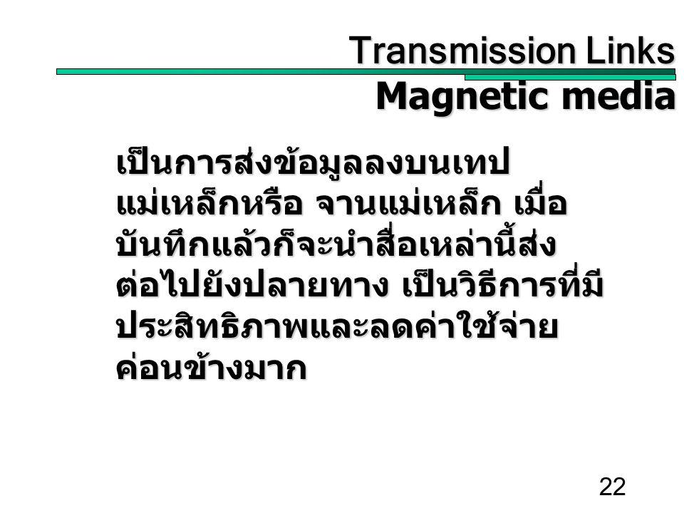 22 Transmission Links Transmission Links Magnetic media เป็นการส่งข้อมูลลงบนเทป แม่เหล็กหรือ จานแม่เหล็ก เมื่อ บันทึกแล้วก็จะนำสื่อเหล่านี้ส่ง ต่อไปยังปลายทาง เป็นวิธีการที่มี ประสิทธิภาพและลดค่าใช้จ่าย ค่อนข้างมาก