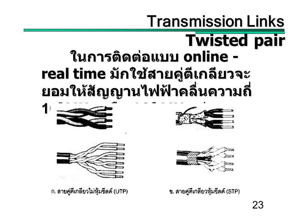 23 Transmission Links Transmission Links Twisted pair ในการติดต่อแบบ online - real time มักใช้สายคู่ตีเกลียวจะ ยอมให้สัญญานไฟฟ้าคลื่นความถี่ 10 5 MHz