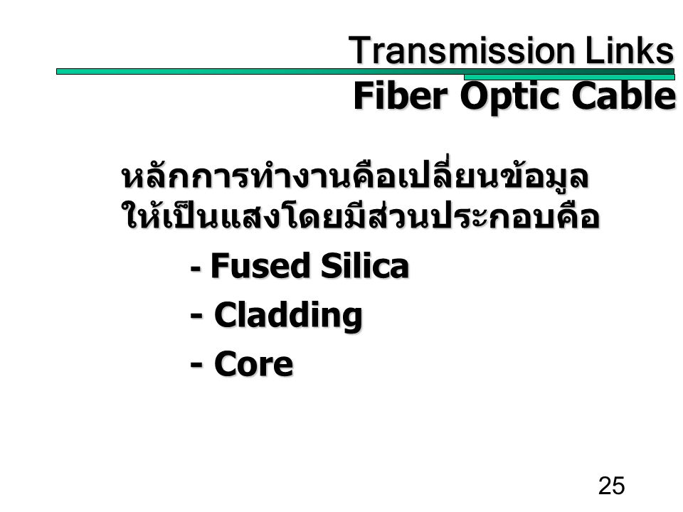 25 Transmission Links Transmission Links Fiber Optic Cable หลักการทำงานคือเปลี่ยนข้อมูล ให้เป็นแสงโดยมีส่วนประกอบคือ - Fused Silica - Cladding - Core