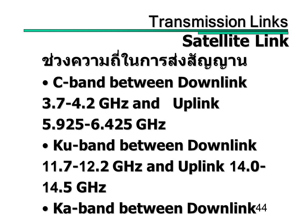 44 Transmission Links Transmission Links Satellite Link ช่วงความถี่ในการส่งสัญญาน C-band between Downlink 3.7-4.2 GHz and Uplink 5.925-6.425 GHz C-band between Downlink 3.7-4.2 GHz and Uplink 5.925-6.425 GHz Ku-band between Downlink 11.7-12.2 GHz and Uplink 14.0- 14.5 GHz Ku-band between Downlink 11.7-12.2 GHz and Uplink 14.0- 14.5 GHz Ka-band between Downlink 17.7-21.7 GHz and Uplink 27.5- 30.5 GHz Ka-band between Downlink 17.7-21.7 GHz and Uplink 27.5- 30.5 GHz