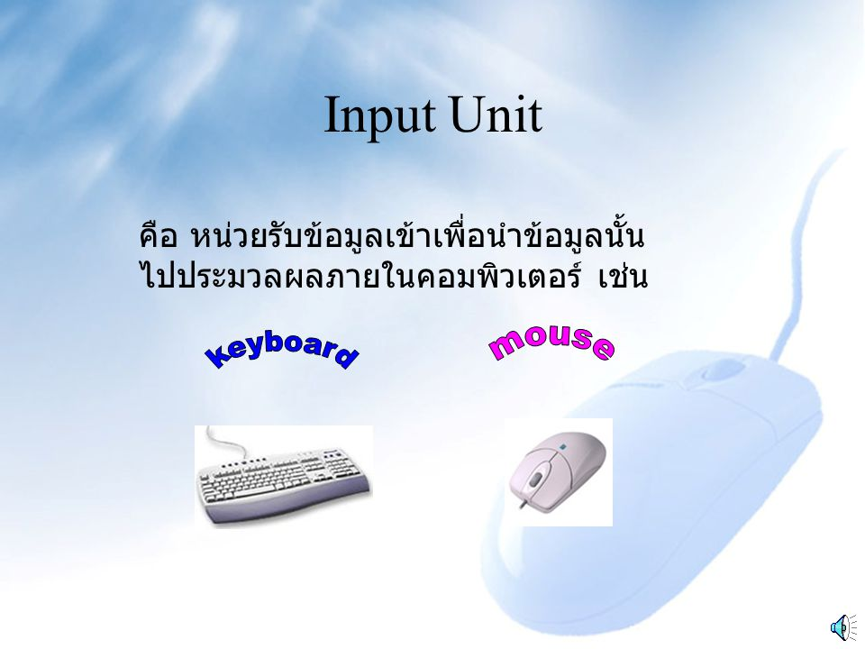 Input Unit คือ หน่วยรับข้อมูลเข้าเพื่อนำข้อมูลนั้น ไปประมวลผลภายในคอมพิวเตอร์ เช่น