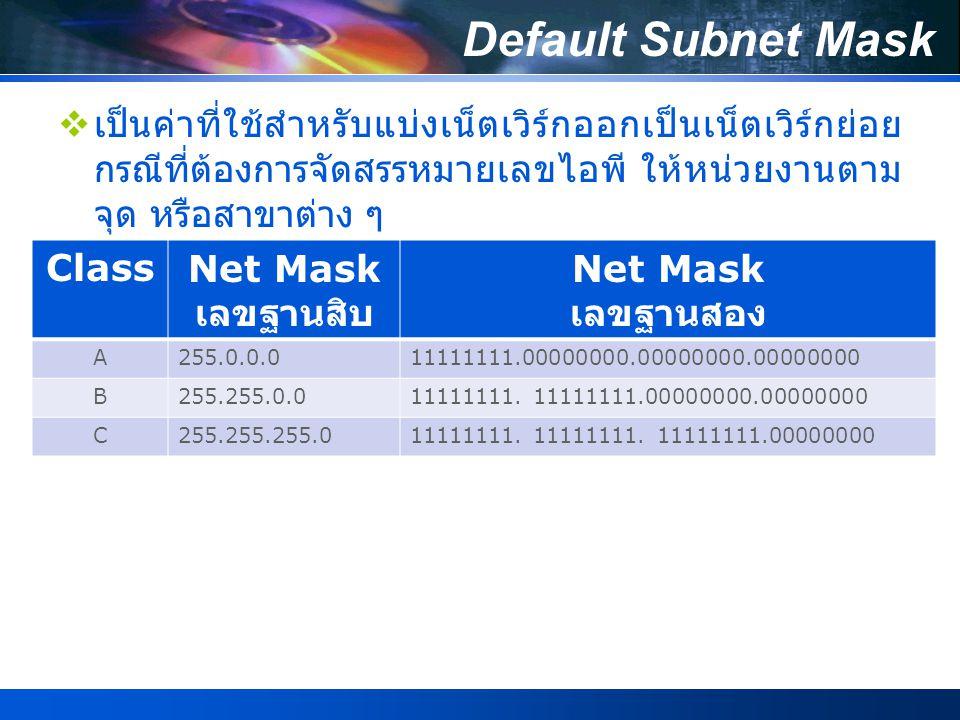 การแบ่ง Subnet ของ Class C  เนื่องด้วยปัจจุบัน IP Address ที่มีใช้งานส่วนมากเป็น คลาส C เกือบทั้งหมด กล่าวคือเราใช้ 8 บิต ด้านขวา สุดของ IP Address ในการกำหนด Host Address (Host ID) ให้เครื่องคอมพิวเตอร์ ดังนั้นการทำการ Subnet ในคลาส C ก็คือการแบ่งข้อมูล 8 บิต ของ Host Address ออกเป็น Subnet Address และ Host Address ใหม่นั่นเอง สรุปการแบ่ง Subnet ของคลาส C ที่นำมาใช้งานจริงได้ 5 แบบ ดังตาราง ต่อไปนี้