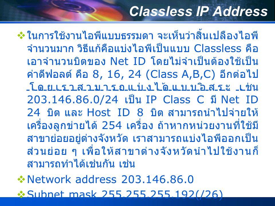 Classless IP Address  ในการใช้งานไอพีแบบธรรมดา จะเห็นว่าสิ้นเปลืองไอพี จำนวนมาก วิธีแก้คือแบ่งไอพีเป็นแบบ Classless คือ เอาจำนวนบิตของ Net ID โดยไม่จำเป็นต้องใช้เป็น ค่าดีฟอลต์ คือ 8, 16, 24 (Class A,B,C) อีกต่อไป โดยเราสามารถแบ่งได้แบบอิสระ เช่น 203.146.86.0/24 เป็น IP Class C มี Net ID 24 บิต และ Host ID 8 บิต สามารถนำไปจ่ายให้ เครื่องลูกข่ายได้ 254 เครื่อง ถ้าหากหน่วยงานที่ใช้มี สาขาย่อยอยู่ต่างจังหวัด เราสามารถแบ่งไอพีออกเป็น ส่วนย่อย ๆ เพื่อให้สาขาต่างจังหวัดนำไปใช้งานก็ สามารถทำได้เช่นกัน เช่น  Network address 203.146.86.0  Subnet mask 255.255.255.192(/26)