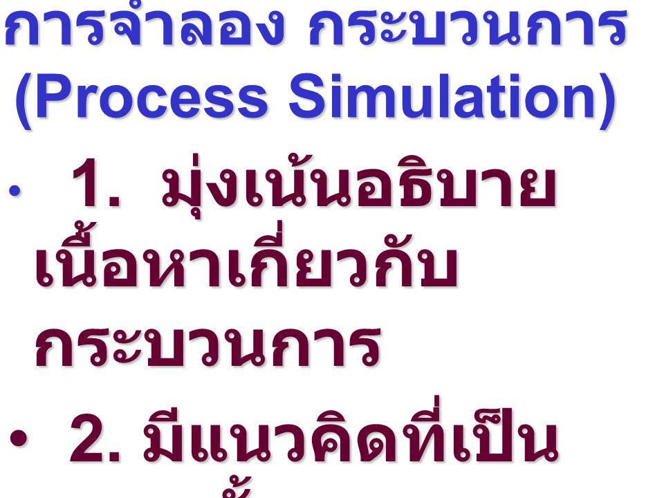การจำลอง กระบวนการ (Process Simulation) 1. มุ่งเน้นอธิบาย เนื้อหาเกี่ยวกับ กระบวนการ 1. มุ่งเน้นอธิบาย เนื้อหาเกี่ยวกับ กระบวนการ 2. มีแนวคิดที่เป็น ร