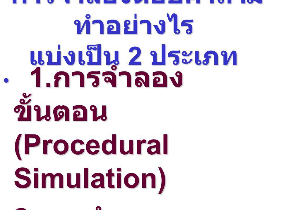 การจำลองตอบคำถาม ทำอย่างไร แบ่งเป็น 2 ประเภท การจำลองตอบคำถาม ทำอย่างไร แบ่งเป็น 2 ประเภท 1. การจำลอง ขั้นตอน (Procedural Simulation) 1. การจำลอง ขั้น