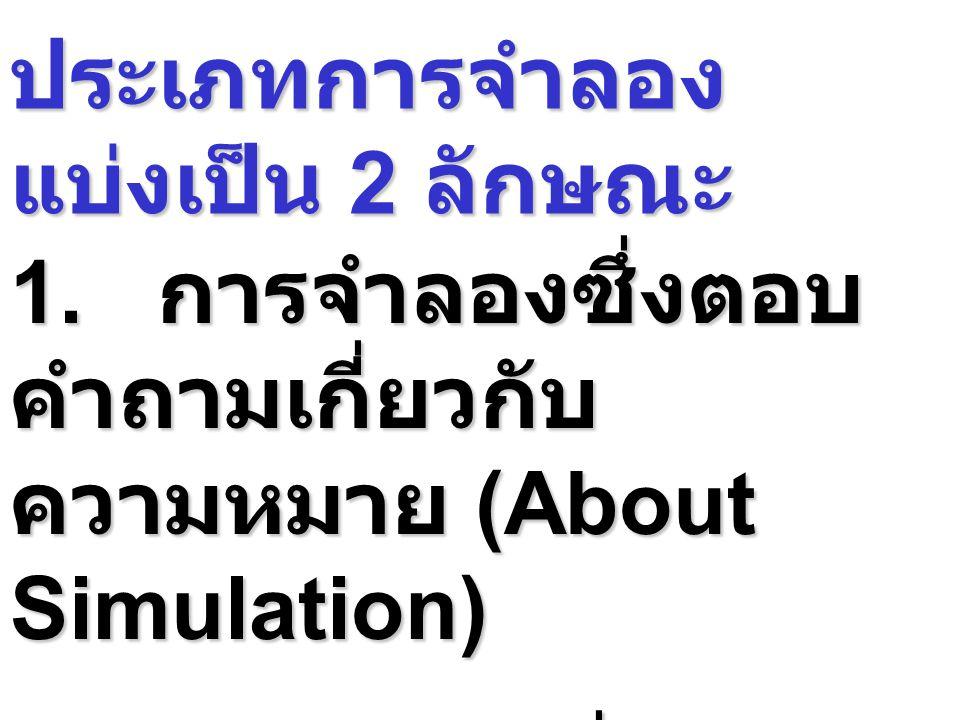 ประเภทการจำลอง แบ่งเป็น 2 ลักษณะ 1. การจำลองซึ่งตอบ คำถามเกี่ยวกับ ความหมาย (About Simulation) 2. การจำลองซึ่งคำถาม เกี่ยวกับวิธีการ (How to Simulatio