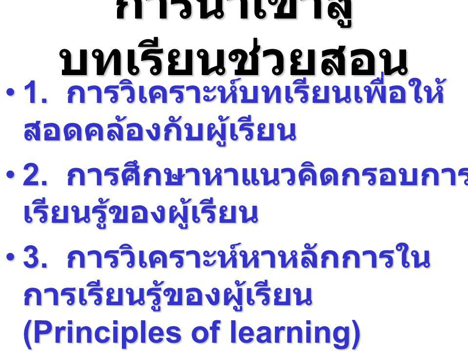 การนำเข้าสู่ บทเรียนช่วยสอน 1. การวิเคราะห์บทเรียนเพื่อให้ สอดคล้องกับผู้เรียน1. การวิเคราะห์บทเรียนเพื่อให้ สอดคล้องกับผู้เรียน 2. การศึกษาหาแนวคิดกร