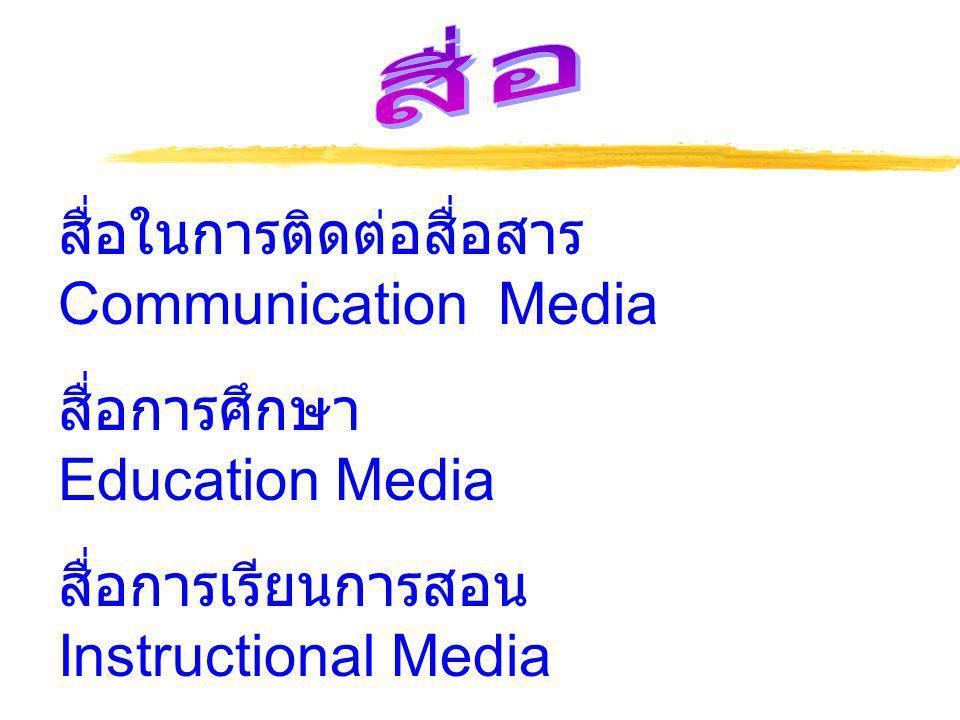 สื่อในการติดต่อสื่อสาร Communication Media สื่อการศึกษา Education Media สื่อการเรียนการสอน Instructional Media สื่อการสอน Teaching Media สื่อโสตทัศน์