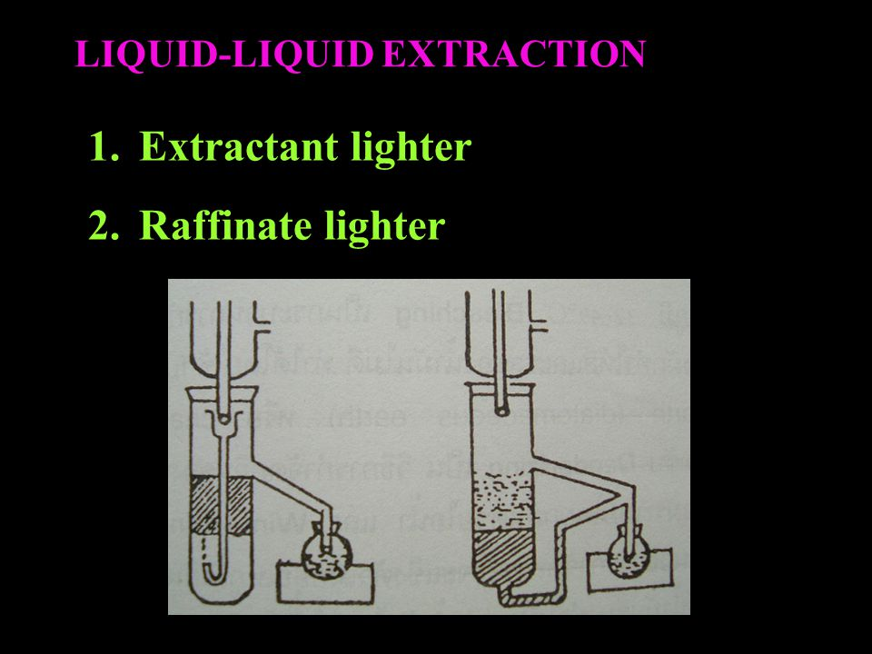 LIQUID-LIQUID EXTRACTION 1.Extractant lighter 2.Raffinate lighter