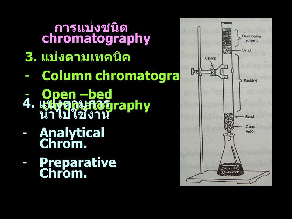 การแบ่งชนิด chromatography 3. แบ่งตามเทคนิค -Column chromatography -Open –bed chromatography 4. แบ่งตามการ นำไปใช้งาน -Analytical Chrom. -Preparative