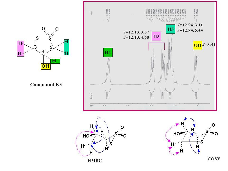 Compound K3 H4 OH H5 H3 J=12.13, 3.87 J=12.13, 4.68 J=12.94, 3.11 J=12.94, 5.44 J=8.41 HMBC COSY