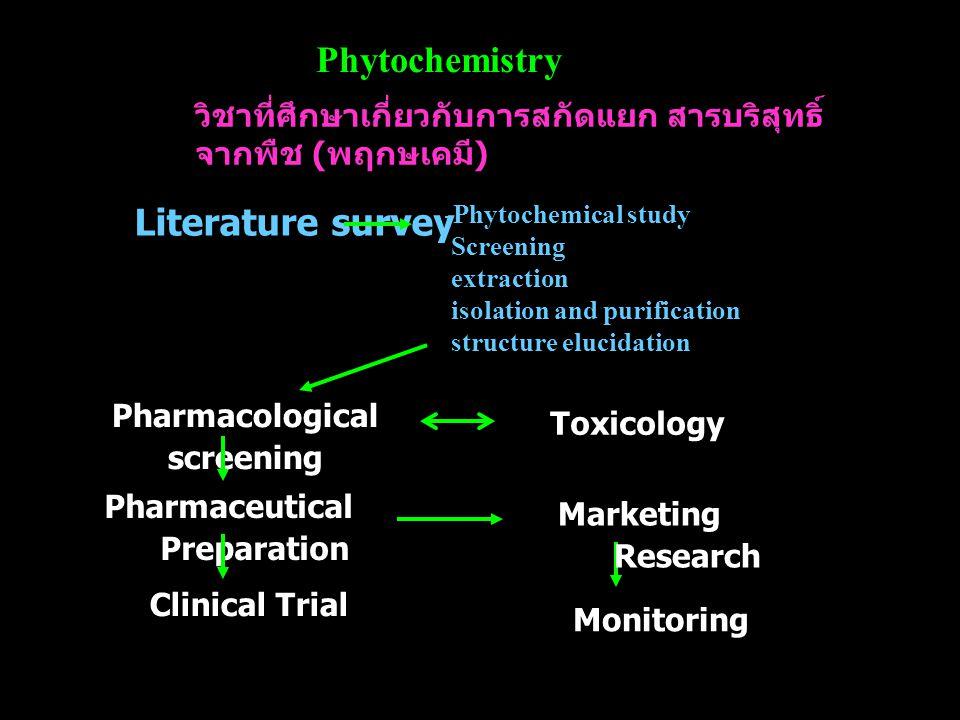 Phytochemistry วิชาที่ศึกษาเกี่ยวกับการสกัดแยก สารบริสุทธิ์ จากพืช ( พฤกษเคมี ) -Phytochemical study Screening extraction isolation and purification s
