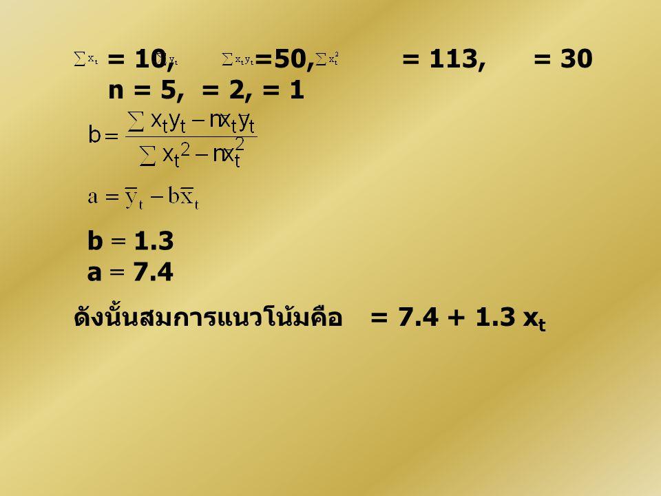= 10, =50, = 113, = 30 n = 5, = 2, = 1 b = 1.3 a = 7.4 ดังนั้นสมการแนวโน้มคือ = 7.4 + 1.3 x t