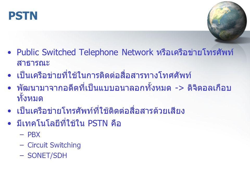 PSTN Public Switched Telephone Network หรือเครือข่ายโทรศัพท์ สาธารณะ เป็นเครือข่ายที่ใช้ในการติดต่อสื่อสารทางโทศศัพท์ พัฒนามาจากอดีตที่เป็นแบบอนาลอกทั