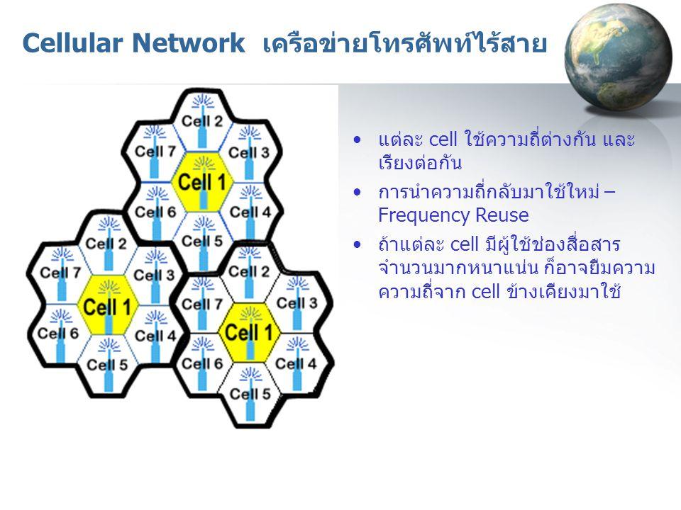 Cellular Network เครือข่ายโทรศัพท์ไร้สาย แต่ละ cell ใช้ความถี่ต่างกัน และ เรียงต่อกัน การนำความถี่กลับมาใช้ใหม่ – Frequency Reuse ถ้าแต่ละ cell มีผู้ใ