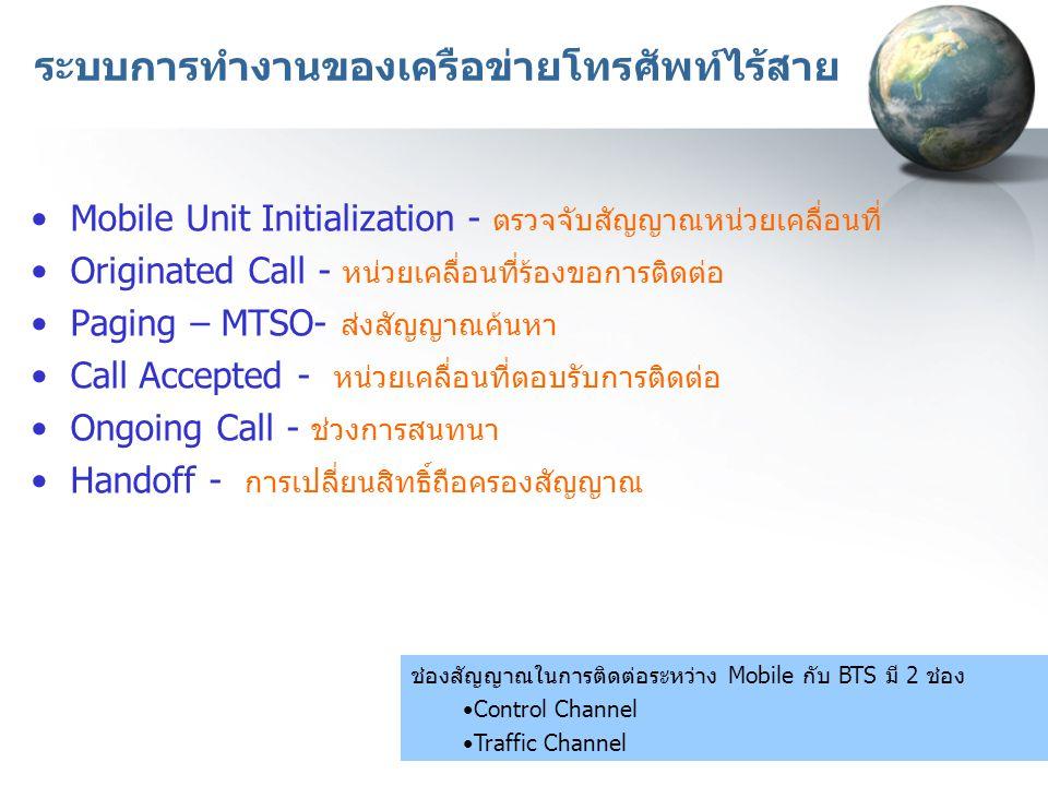 ระบบการทำงานของเครือข่ายโทรศัพท์ไร้สาย Mobile Unit Initialization - ตรวจจับสัญญาณหน่วยเคลื่อนที่ Originated Call - หน่วยเคลื่อนที่ร้องขอการติดต่อ Paging – MTSO- ส่งสัญญาณค้นหา Call Accepted - หน่วยเคลื่อนที่ตอบรับการติดต่อ Ongoing Call - ช่วงการสนทนา Handoff - การเปลี่ยนสิทธิ์ถือครองสัญญาณ ช่องสัญญาณในการติดต่อระหว่าง Mobile กับ BTS มี 2 ช่อง Control Channel Traffic Channel