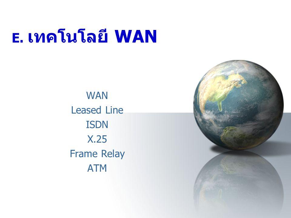 E. เทคโนโลยี WAN WAN Leased Line ISDN X.25 Frame Relay ATM