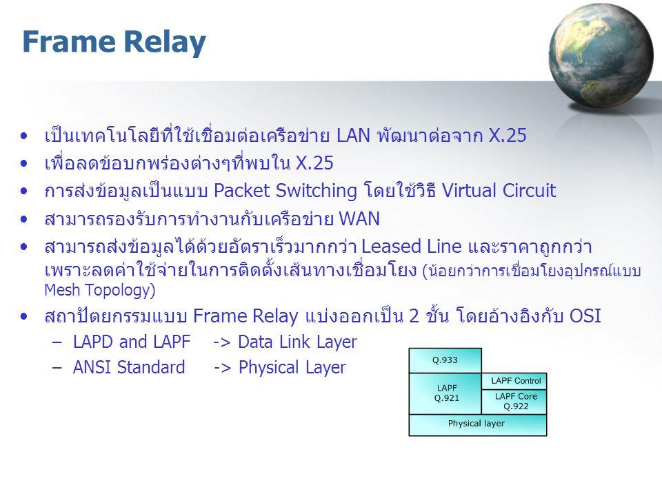 เป็นเทคโนโลยีที่ใช้เชื่อมต่อเครือข่าย LAN พัฒนาต่อจาก X.25 เพื่อลดข้อบกพร่องต่างๆที่พบใน X.25 การส่งข้อมูลเป็นแบบ Packet Switching โดยใช้วิธี Virtual Circuit สามารถรองรับการทำงานกับเครือข่าย WAN สามารถส่งข้อมูลได้ด้วยอัตราเร็วมากกว่า Leased Line และราคาถูกกว่า เพราะลดค่าใช้จ่ายในการติดตั้งเส้นทางเชื่อมโยง (น้อยกว่าการเชื่อมโยงอุปกรณ์แบบ Mesh Topology) สถาปัตยกรรมแบบ Frame Relay แบ่งออกเป็น 2 ชั้น โดยอ้างอิงกับ OSI –LAPD and LAPF -> Data Link Layer –ANSI Standard -> Physical Layer