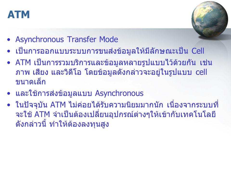 ATM Asynchronous Transfer Mode เป็นการออกแบบระบบการขนส่งข้อมูลให้มีลักษณะเป็น Cell ATM เป็นการรวมบริการและข้อมูลหลายรูปแบบไว้ด้วยกัน เช่น ภาพ เสียง และวิดีโอ โดยข้อมูลดังกล่าวจะอยู่ในรูปแบบ cell ขนาดเล็ก และใช้การส่งข้อมูลแบบ Asynchronous ในปัจจุบัน ATM ไม่ค่อยได้รับความนิยมมากนัก เนื่องจากระบบที่ จะใช้ ATM จำเป็นต้องเปลี่ยนอุปกรณ์ต่างๆให้เข้ากับเทคโนโลยี ดังกล่าวนี้ ทำให้ต้องลงทุนสูง