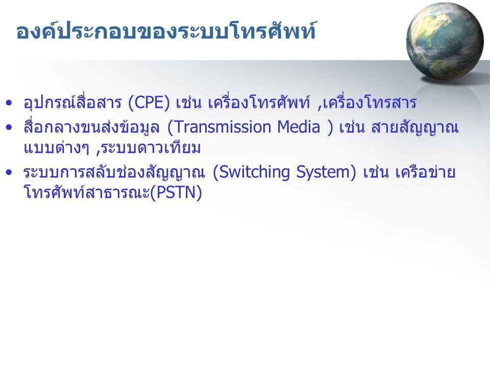 องค์ประกอบของระบบโทรศัพท์ อุปกรณ์สื่อสาร (CPE) เช่น เครื่องโทรศัพท์,เครื่องโทรสาร สื่อกลางขนส่งข้อมูล (Transmission Media ) เช่น สายสัญญาณ แบบต่างๆ,ระบบดาวเทียม ระบบการสลับช่องสัญญาณ (Switching System) เช่น เครือข่าย โทรศัพท์สาธารณะ(PSTN)