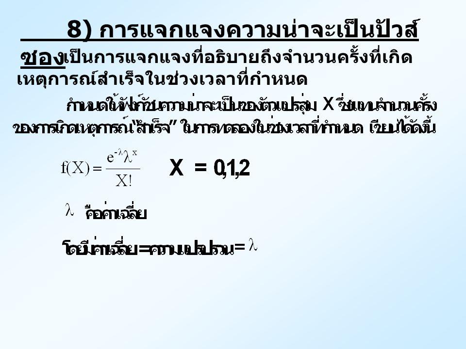 8) การแจกแจงความน่าจะเป็นปัวส์ ซอง เป็นการแจกแจงที่อธิบายถึงจำนวนครั้งที่เกิด เหตุการณ์สำเร็จในช่วงเวลาที่กำหนด