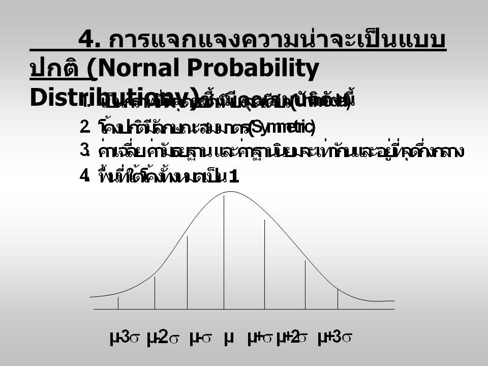4. การแจกแจงความน่าจะเป็นแบบ ปกติ (Nornal Probability Distributionv) ซึ้งมีคุณสมบัติดังนี้