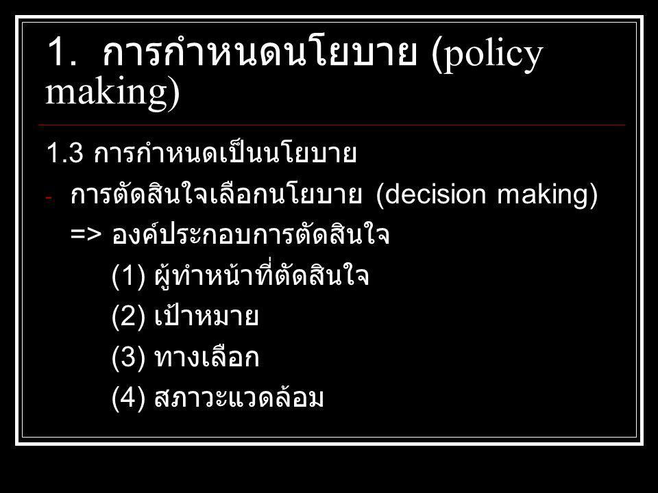 1.3 การกำหนดเป็นนโยบาย - การตัดสินใจเลือกนโยบาย (decision making) => องค์ประกอบการตัดสินใจ (1) ผู้ทำหน้าที่ตัดสินใจ (2) เป้าหมาย (3) ทางเลือก (4) สภาวะแวดล้อม 1.