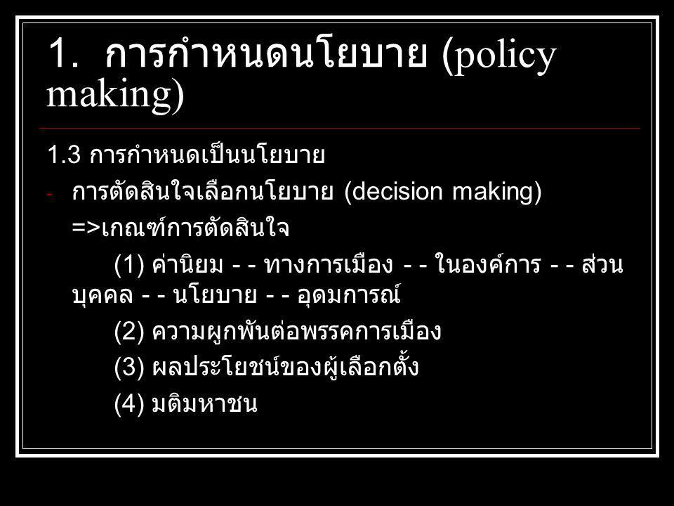 1.3 การกำหนดเป็นนโยบาย - การตัดสินใจเลือกนโยบาย (decision making) => เกณฑ์การตัดสินใจ (1) ค่านิยม - - ทางการเมือง - - ในองค์การ - - ส่วน บุคคล - - นโยบาย - - อุดมการณ์ (2) ความผูกพันต่อพรรคการเมือง (3) ผลประโยชน์ของผู้เลือกตั้ง (4) มติมหาชน 1.