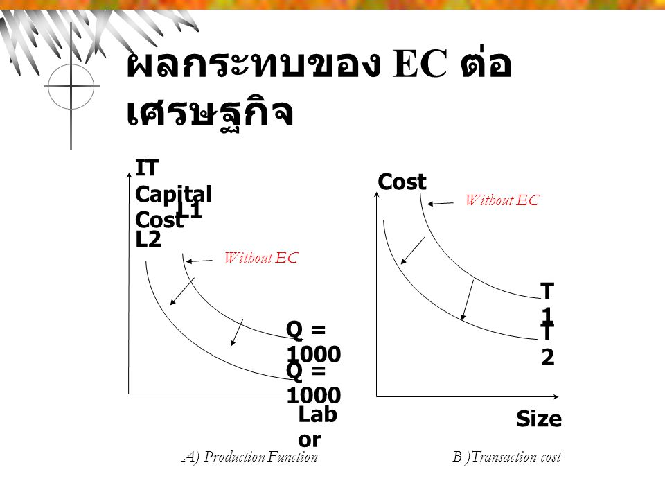 ผลกระทบของ EC ต่อ เศรษฐกิจ Lab or Q = 1000 L1 L2 Cost IT Capital Cost T1T1 T2T2 Size Without EC A) Production Function B )Transaction cost Without EC