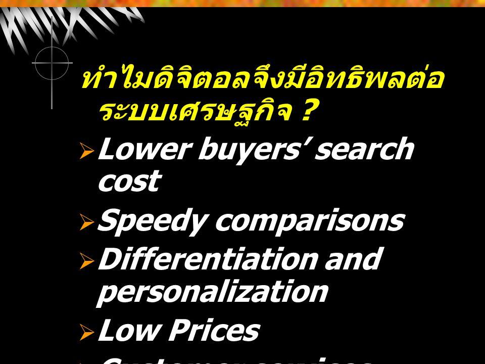 ทำไมดิจิตอลจึงมีอิทธิพลต่อ ระบบเศรษฐกิจ ?  Lower buyers' search cost  Speedy comparisons  Differentiation and personalization  Low Prices  Custom