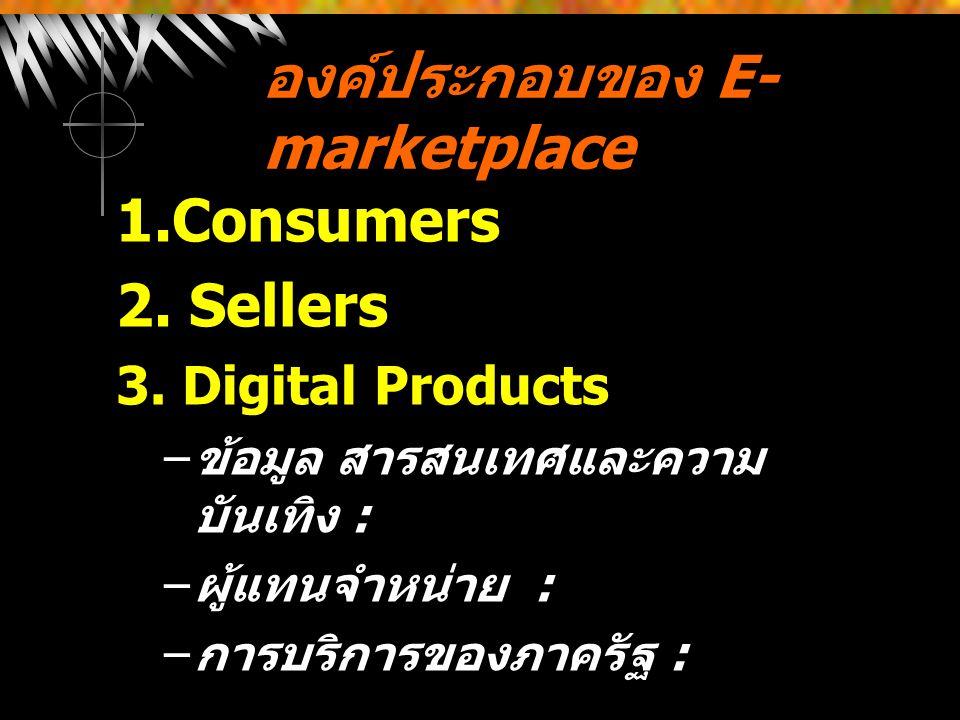 องค์ประกอบของ E- marketplace 1.Consumers 2. Sellers 3. Digital Products – ข้อมูล สารสนเทศและความ บันเทิง : – ผู้แทนจำหน่าย : – การบริการของภาครัฐ :