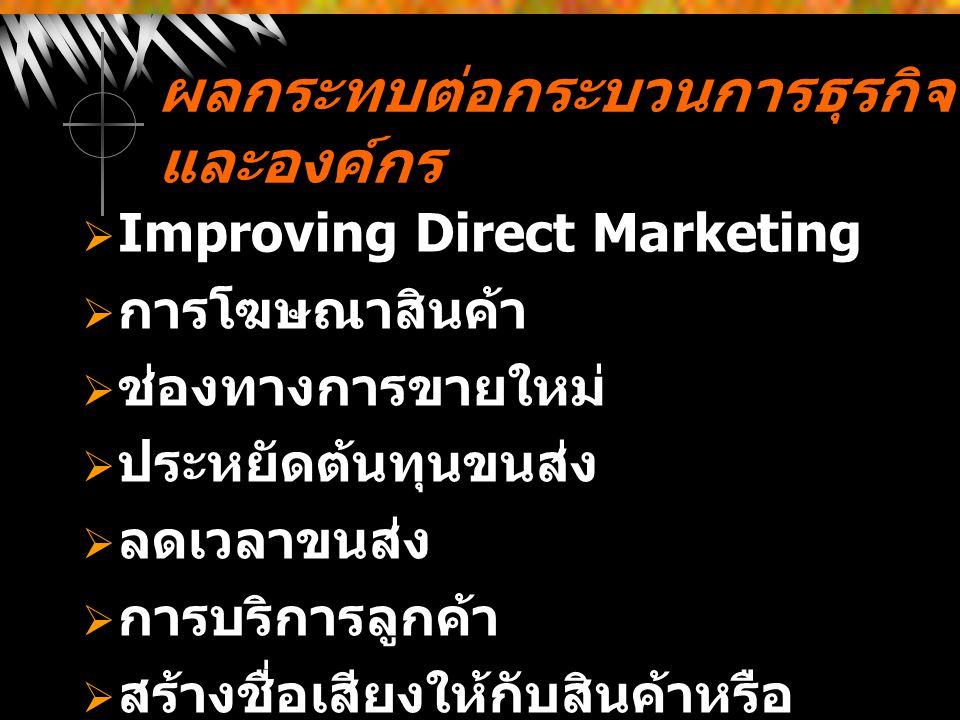 ผลกระทบต่อกระบวนการธุรกิจ และองค์กร  Improving Direct Marketing  การโฆษณาสินค้า  ช่องทางการขายใหม่  ประหยัดต้นทุนขนส่ง  ลดเวลาขนส่ง  การบริการลู