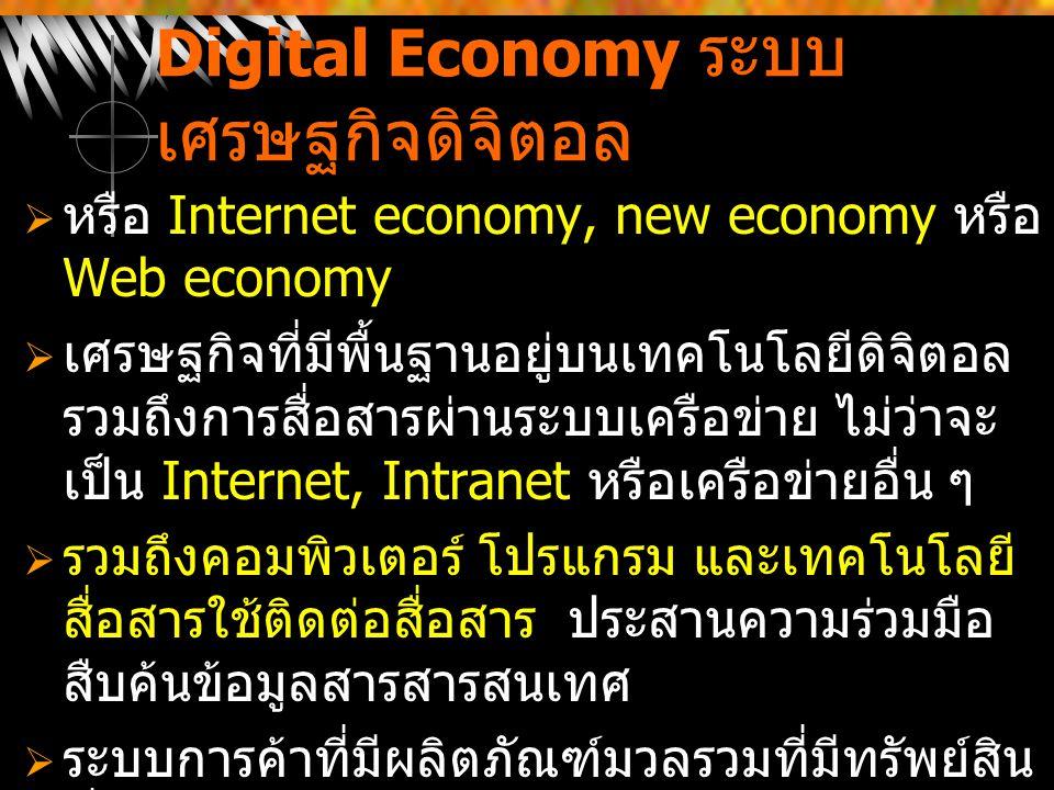 Digital Economy ระบบ เศรษฐกิจดิจิตอล  หรือ Internet economy, new economy หรือ Web economy  เศรษฐกิจที่มีพื้นฐานอยู่บนเทคโนโลยีดิจิตอล รวมถึงการสื่อส