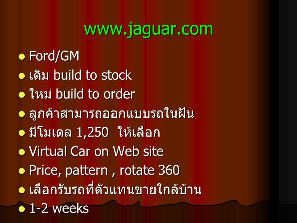 www.jaguar.com Ford/GM Ford/GM เดิม build to stock เดิม build to stock ใหม่ build to order ใหม่ build to order ลูกค้าสามารถออกแบบรถในฝัน ลูกค้าสามารถออกแบบรถในฝัน มีโมเดล 1,250 ให้เลือก มีโมเดล 1,250 ให้เลือก Virtual Car on Web site Virtual Car on Web site Price, pattern, rotate 360 Price, pattern, rotate 360 เลือกรับรถที่ตัวแทนขายใกล้บ้าน เลือกรับรถที่ตัวแทนขายใกล้บ้าน 1-2 weeks 1-2 weeks