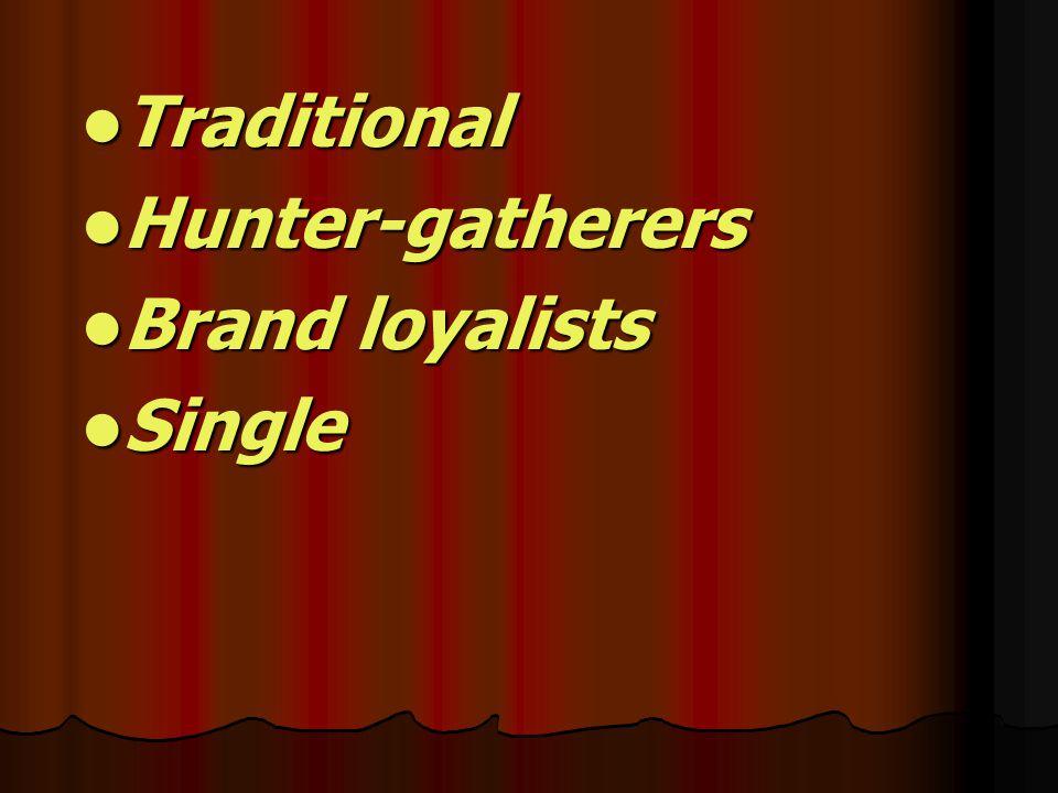 Traditional Traditional Hunter-gatherers Hunter-gatherers Brand loyalists Brand loyalists Single Single
