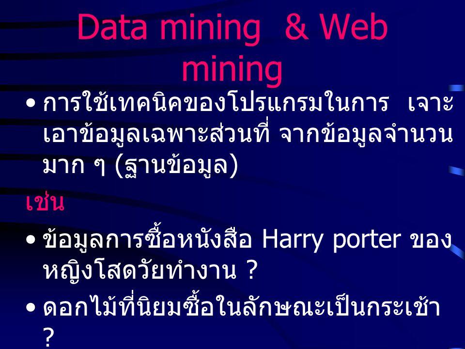 Data mining & Web mining การใช้เทคนิคของโปรแกรมในการ เจาะ เอาข้อมูลเฉพาะส่วนที่ จากข้อมูลจำนวน มาก ๆ ( ฐานข้อมูล ) เช่น ข้อมูลการซื้อหนังสือ Harry porter ของ หญิงโสดวัยทำงาน .
