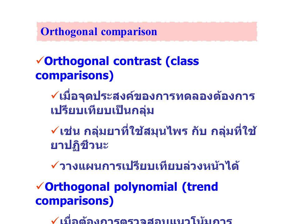 Orthogonal contrast (class comparisons) เมื่อจุดประสงค์ของการทดลองต้องการ เปรียบเทียบเป็นกลุ่ม เช่น กลุ่มยาที่ใช้สมุนไพร กับ กลุ่มที่ใช้ ยาปฏิชีวนะ วา