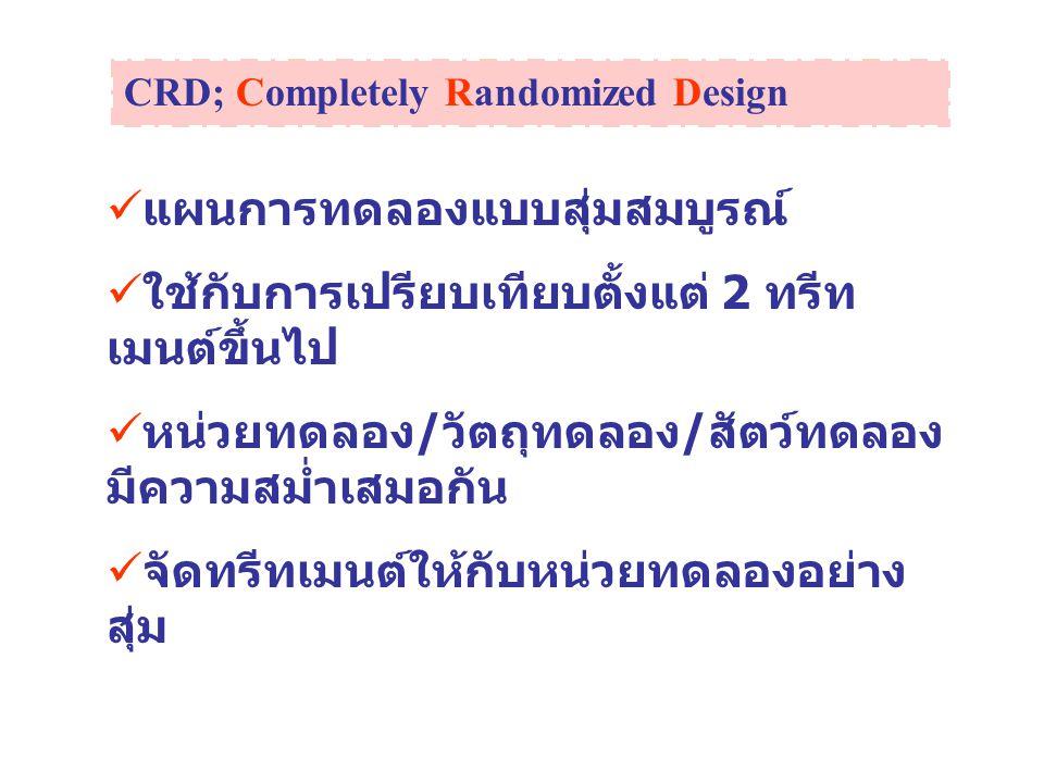 CRD; Completely Randomized Design แผนการทดลองแบบสุ่มสมบูรณ์ ใช้กับการเปรียบเทียบตั้งแต่ 2 ทรีท เมนต์ขึ้นไป หน่วยทดลอง / วัตถุทดลอง / สัตว์ทดลอง มีความ