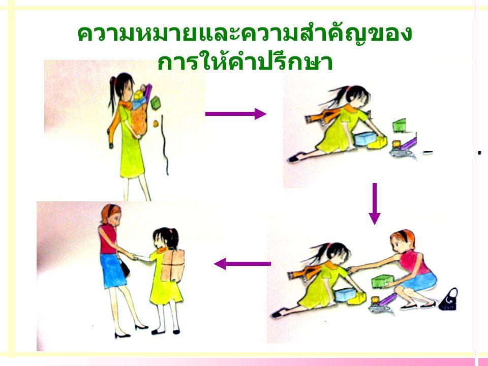สถานที่ให้คำปรึกษา ระยะห่างของการนั่ง / ยืน 3- 5 ฟุต เป็นสัดส่วน จัดที่นั่งเป็นมุมฉาก จัดเตรียมกระดาษซับน้ำตา