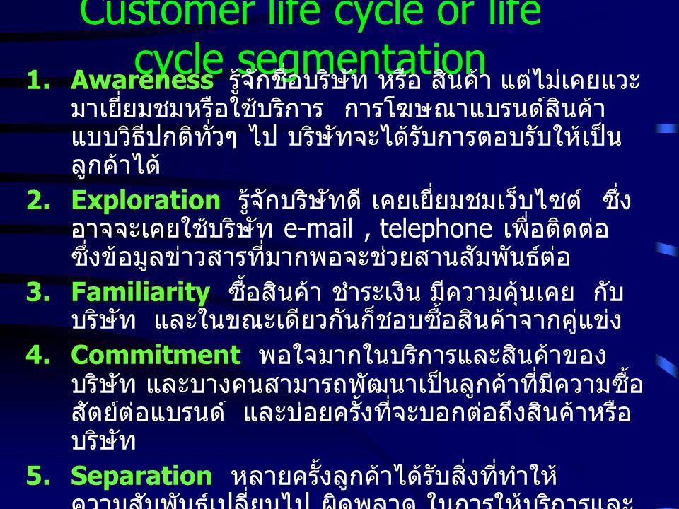 Customer life cycle or life cycle segmentation 1.Awareness รู้จักชื่อบริษัท หรือ สินค้า แต่ไม่เคยแวะ มาเยี่ยมชมหรือใช้บริการ การโฆษณาแบรนด์สินค้า แบบวิธีปกติทั่วๆ ไป บริษัทจะได้รับการตอบรับให้เป็น ลูกค้าได้ 2.Exploration รู้จักบริษัทดี เคยเยี่ยมชมเว็บไซต์ ซึ่ง อาจจะเคยใช้บริษัท e-mail, telephone เพื่อติดต่อ ซึ่งข้อมูลข่าวสารที่มากพอจะช่วยสานสัมพันธ์ต่อ 3.Familiarity ซื้อสินค้า ชำระเงิน มีความคุ้นเคย กับ บริษัท และในขณะเดียวกันก็ชอบซื้อสินค้าจากคู่แข่ง 4.Commitment พอใจมากในบริการและสินค้าของ บริษัท และบางคนสามารถพัฒนาเป็นลูกค้าที่มีความซื้อ สัตย์ต่อแบรนด์ และบ่อยครั้งที่จะบอกต่อถึงสินค้าหรือ บริษัท 5.Separation หลายครั้งลูกค้าได้รับสิ่งที่ทำให้ ความสัมพันธ์เปลี่ยนไป ผิดพลาด ในการให้บริการและ คุณภาพสินค้า ซึ่งบริษัทต้องใช้งบประมาณสูงมากใน การ keep them ที่จะไม่ให้ตกมาที่ level นี้
