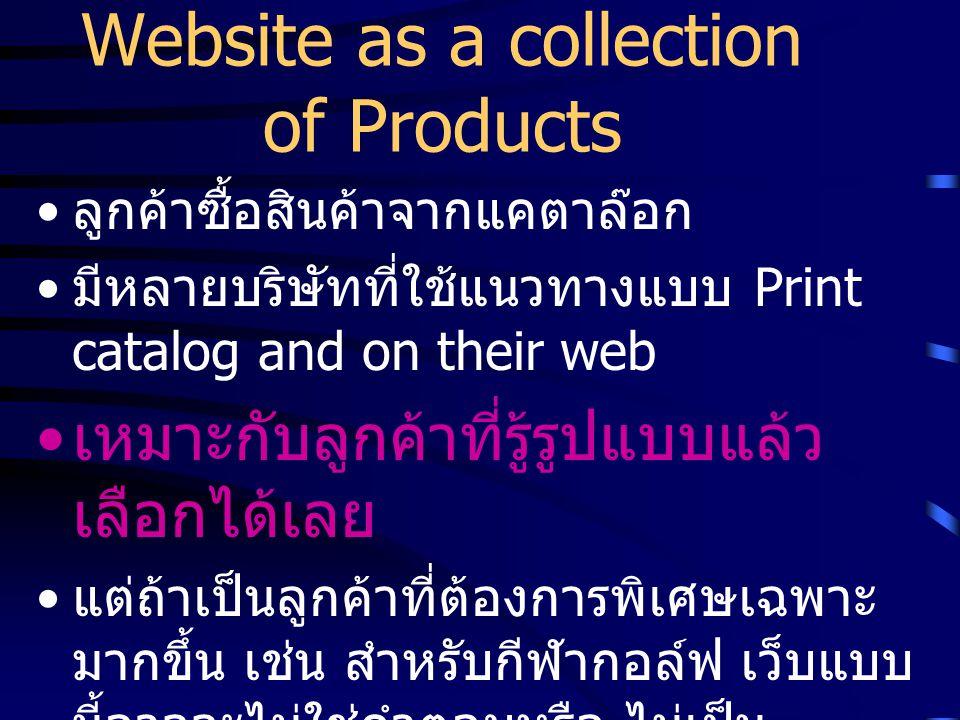 Website as a collection of Products ลูกค้าซื้อสินค้าจากแคตาล๊อก มีหลายบริษัทที่ใช้แนวทางแบบ Print catalog and on their web เหมาะกับลูกค้าที่รู้รูปแบบแล้ว เลือกได้เลย แต่ถ้าเป็นลูกค้าที่ต้องการพิเศษเฉพาะ มากขึ้น เช่น สำหรับกีฬากอล์ฟ เว็บแบบ นี้อาจจะไม่ใช่คำตอบหรือ ไม่เป็น ประโยชน์สำหรับ เขา