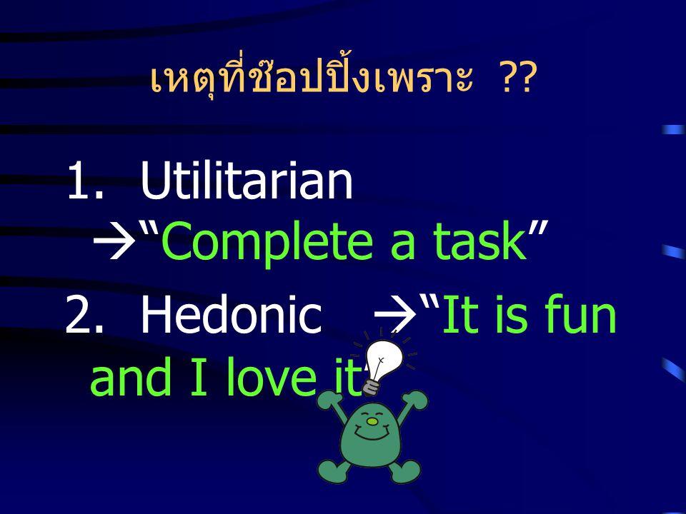 เหตุที่ช๊อปปิ้งเพราะ ?? 1. Utilitarian  Complete a task 2. Hedonic  It is fun and I love it