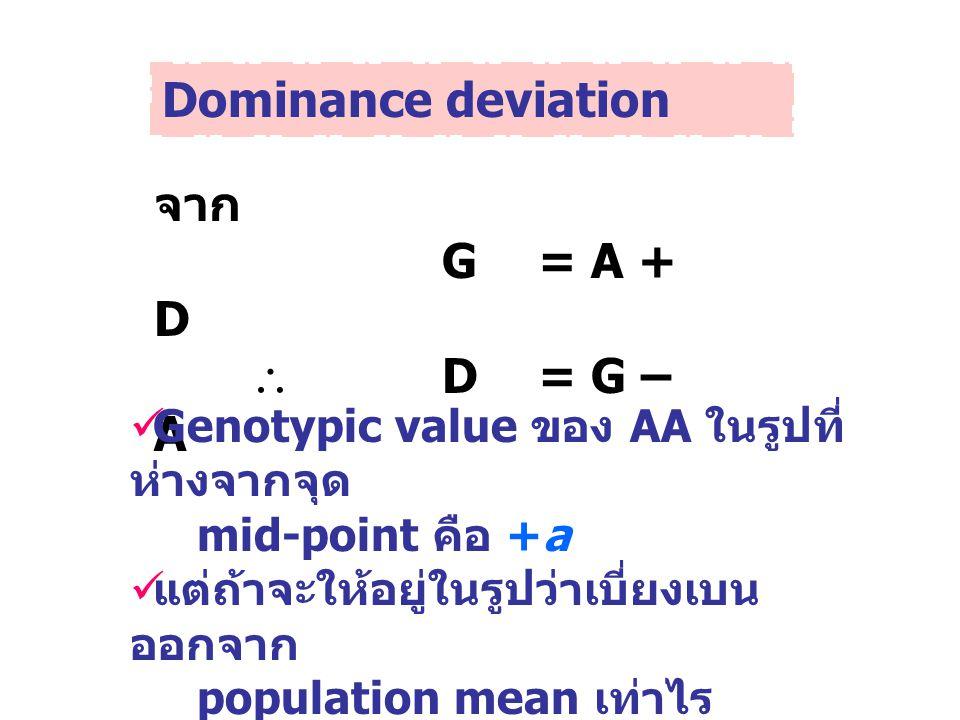 Dominance deviation จาก G = A + D  D= G – A Genotypic value ของ AA ในรูปที่ ห่างจากจุด mid-point คือ +a แต่ถ้าจะให้อยู่ในรูปว่าเบี่ยงเบน ออกจาก popul