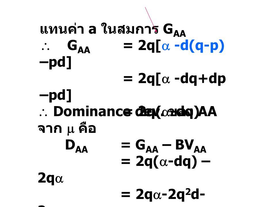แทนค่า a ในสมการ G AA  G AA = 2q[  -d(q-p) –pd] = 2q[  -dq+dp –pd] = 2q(  -dq)  Dominance dev. ของ AA จาก  คือ D AA = G AA – BV AA = 2q(  -dq)