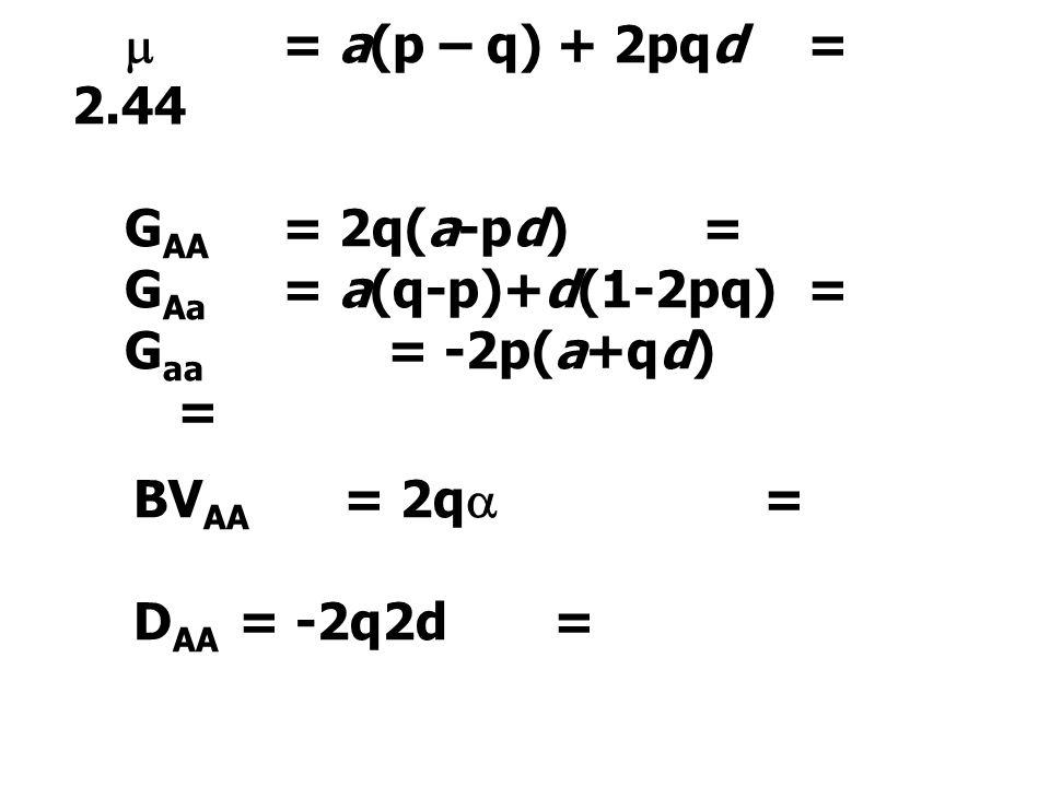  = a(p – q) + 2pqd = 2.44 G AA = 2q(a-pd)= G Aa = a(q-p)+d(1-2pq)= G aa = -2p(a+qd) = BV AA = 2q  = D AA = -2q2d=