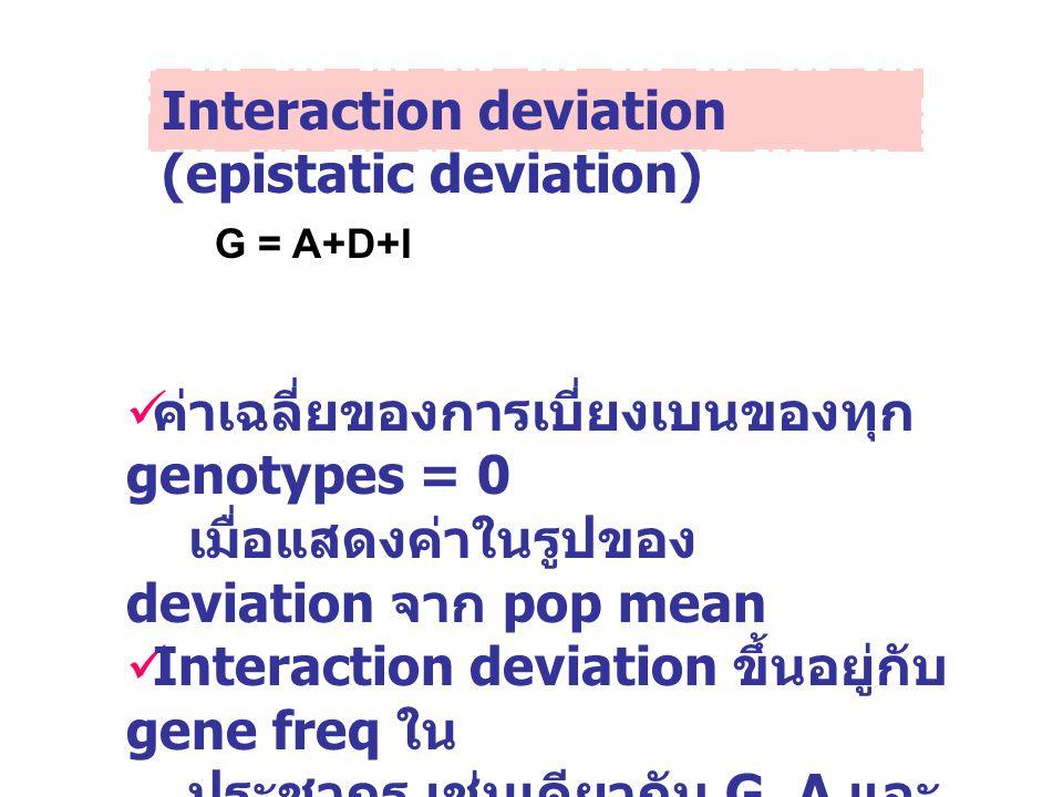 Interaction deviation (epistatic deviation) G = A+D+I ค่าเฉลี่ยของการเบี่ยงเบนของทุก genotypes = 0 เมื่อแสดงค่าในรูปของ deviation จาก pop mean Interac