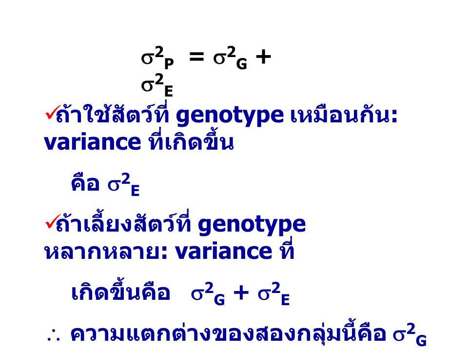  2 P =  2 G +  2 E ถ้าใช้สัตว์ที่ genotype เหมือนกัน : variance ที่เกิดขึ้น คือ  2 E ถ้าเลี้ยงสัตว์ที่ genotype หลากหลาย : variance ที่ เกิดขึ้นคื